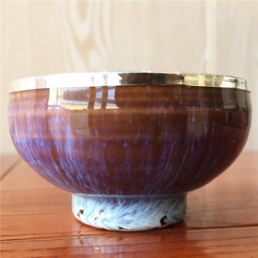 紫兰琉璃手工包银杯